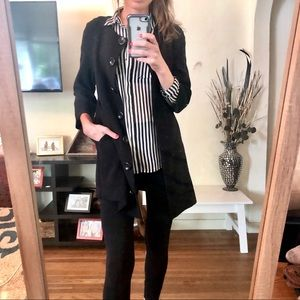 Black Button Up Coat w/ Pockets
